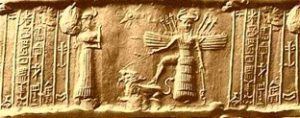tablilla cuneiforme datada del 1775 A.C. donde se muestra la figura de Inanna