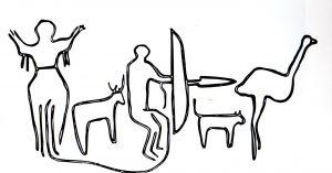 "Pintada en roca en Tassili, Sahara, c.8000-5000 A.C del libro ""The Yoni"" de Rufus Camphausen"
