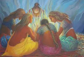 """""""Mujeres alrededor del fuego"""". Artista: Hem Jyotika"""
