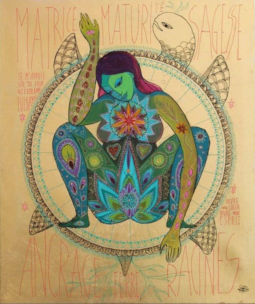 Mujer Medicina con tortuga. Artista: Caroline Manière