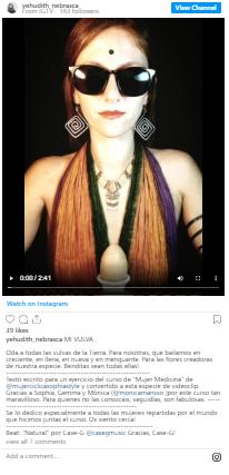 "Video en instragram de Yehudith Nebraska: ""Mi vulva es Diosa"""